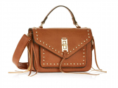 Metallic Sky Studded Crossbody With Fringe